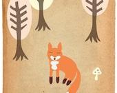 The Shy Fox Print