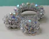 Lovely Vintage Aurora Borealis Crystal Demi Parure, Brooch and Earrings, Set