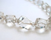 Vintage Clear Rock Crystal Choker, Necklace, Natural, Graduated Rock Crystal,  Quartz , Wedding Jewelry Necklace Choker