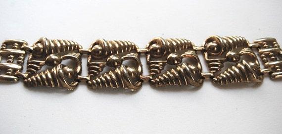 Vintage Super Wide Chunky Gold tone Swirl Links Bracelet