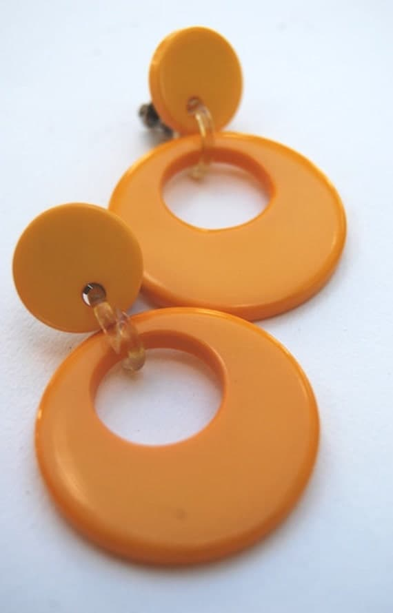 Funky Vintage Bright Butterscotch Yellow Lucite and Celluloid, Go-Go Hoop Earrings
