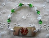 Green and White Cats Eye Medical ID Replacement Bracelet Free Shipping