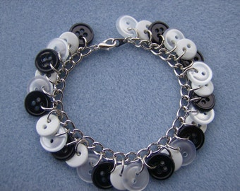 Black and White Button Bracelet Free Shipping