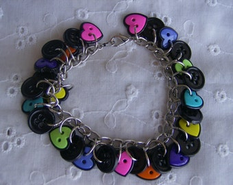 Colorful Heart Shaped Button Bracelet Free Shipping
