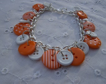 Whimsical Orange and White Button Bracelet Free Shipping