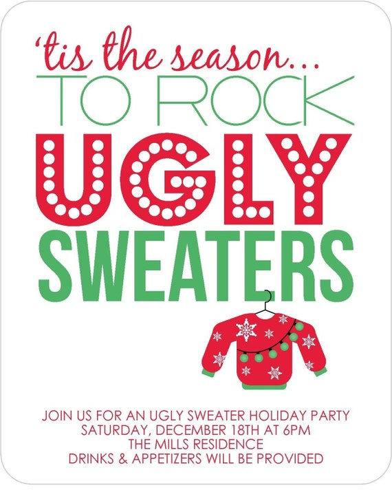 items similar to ugly sweater party invitations - set of 12 free, Party invitations