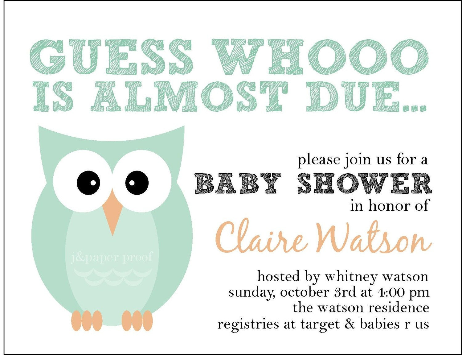 owl themed baby shower invitation whoo is due set of 16