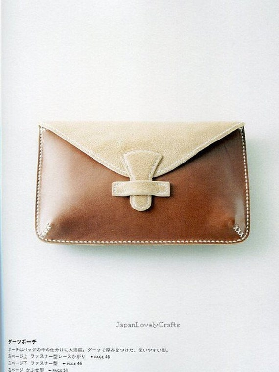 Book Cover Purse Tutorial ~ Hand sewn leather zakka style japanese sewing pattern
