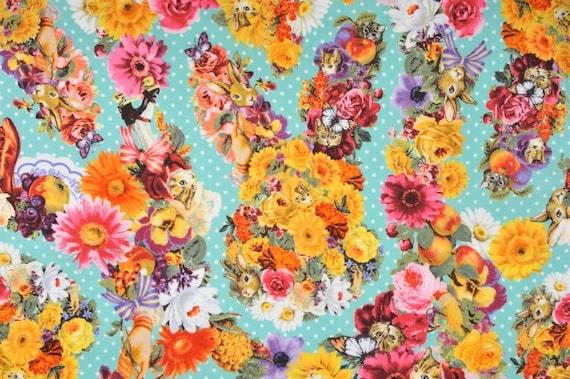 Japanese Cotton Print Fabric - Cosmo Textile, Half Yard - Kawaii Animail, Rabbit & Cat, Flower Floral - Light Blue - NT253
