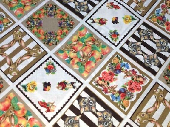 Japanese Cotton Print Fabric - Cosmo Textile, Half Yard - Kawaii Animail, Rabbit & Cat, Flower Floral, NT303