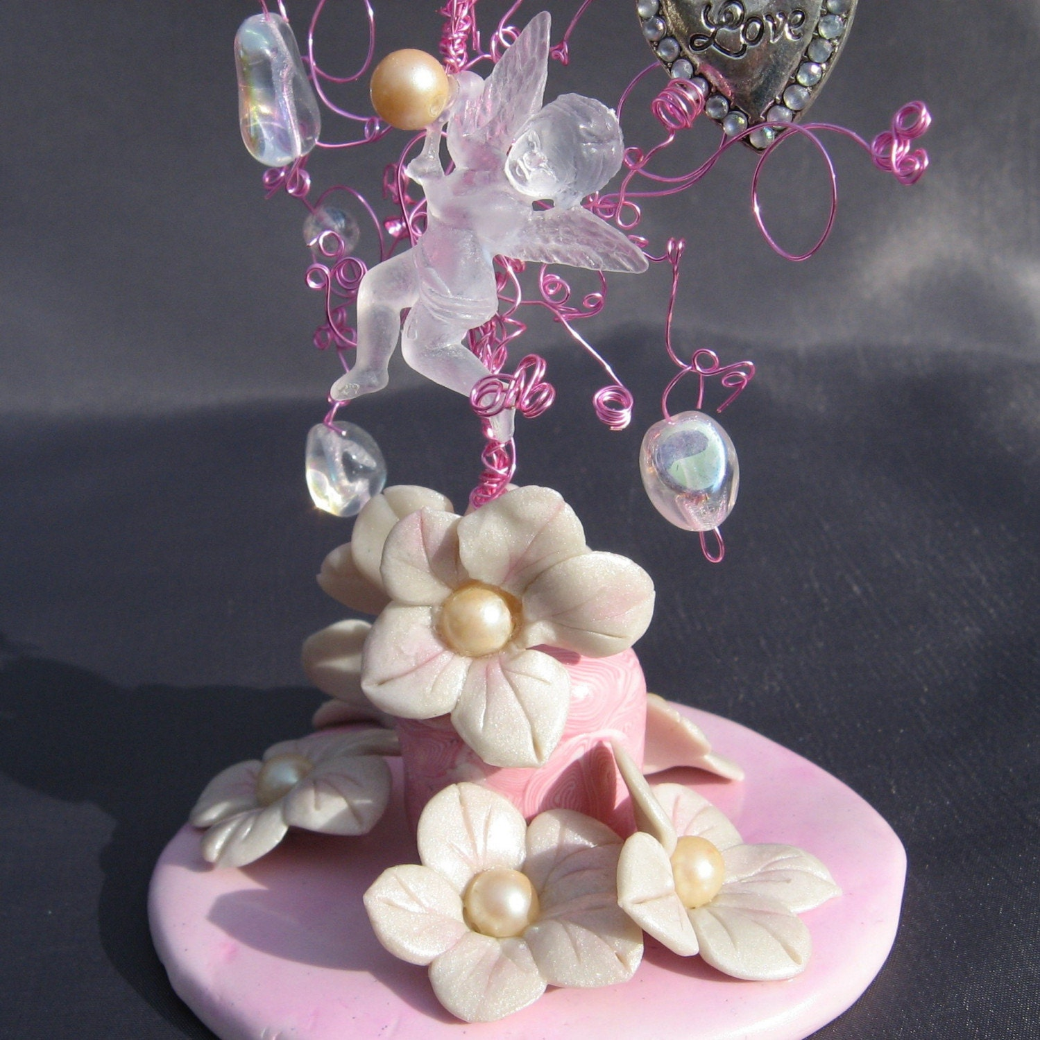 Wedding Cake Topper Pink Cupid Whimsy