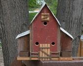 Classic Barn Style Barnboard Birdhouse with Feeders