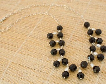 Black Crystal and Fresh Water Pearl Necklace