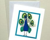 Paw Print Art Card - Peacock