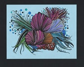 ORIGINAL Pen and Ink - Colored Pencil - Abstract DRAWING - Under The Sea