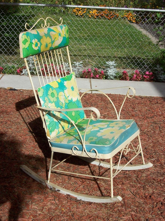 Vintage Wrought Iron Classic Patio Rocking Chair By
