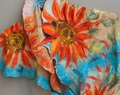 Nuno felted shawl/ scarf/ stole  Sunflower Field