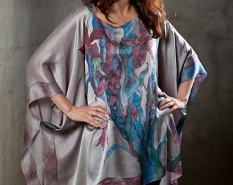 Silk Tunic Caftan Kimono  Kaftan Hand Painted Silk Pearl Grey Blouse Turquoise Orchids One Size Fits All Custom Order