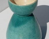Vintage Mid Century Modern Pottery Aqua Green Ceramic Vase