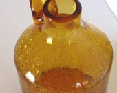 Vintage Hand Blown Rainbow Company Amber Colored Crackled Glass Vase Decanter Pitcher