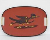 Vintage Red Road Runner Bird Serving Tray