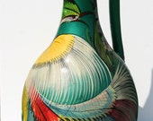 Very Large Vintage Tonala Mexican Pottery Burnished Green Feathered Vase with Handle