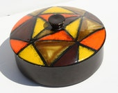 Vintage Mid Century Modern Rosenthal Netter Italian Pottery Geometric Abstract Lidded Dish