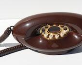 Vintage ATC American Telecommunications Company Chocolate Brown Genie Phone