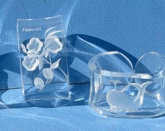 Vintage Lucite Plastic Hawaii Souvenir Napkin Rings Holders