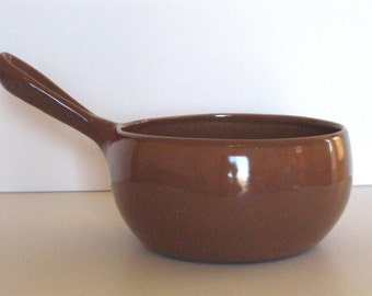 Vintage Mid Century Modern Russel Wright Iroquois Casual China Sauce Pan Saucepan in Early Brown