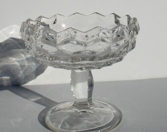 Vintage Art Deco Crystal Clear Compote Footed Bowl