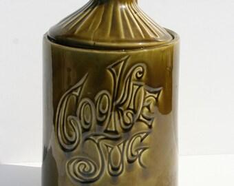 Vintage McCoy Green Pottery Cookie Jug Cookie Jar