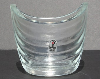Vintage Modernist Pilgrim Glass Frosted Glass Vase Dish