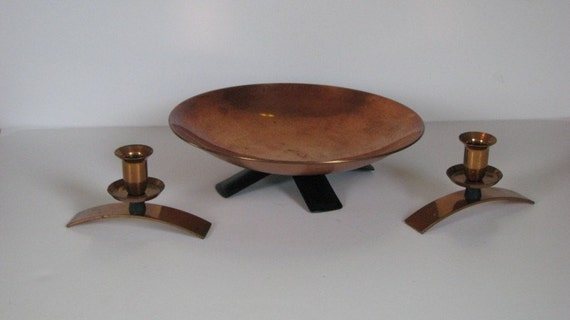 Vintage Mid Century Modern Copper Console Bowl with Matching Copper Candle Holders