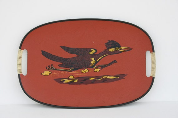 Vintage Red Road Runner Bird Serving Tray