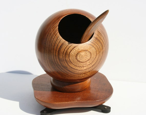 Vintage Danish Modern Wooden Swivel Orb Nut Holder with Spoon and Base