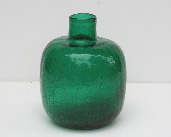 Vintage Blenko Myers 1964 Emerald Green Crackle Glass Vase or Candle Holder