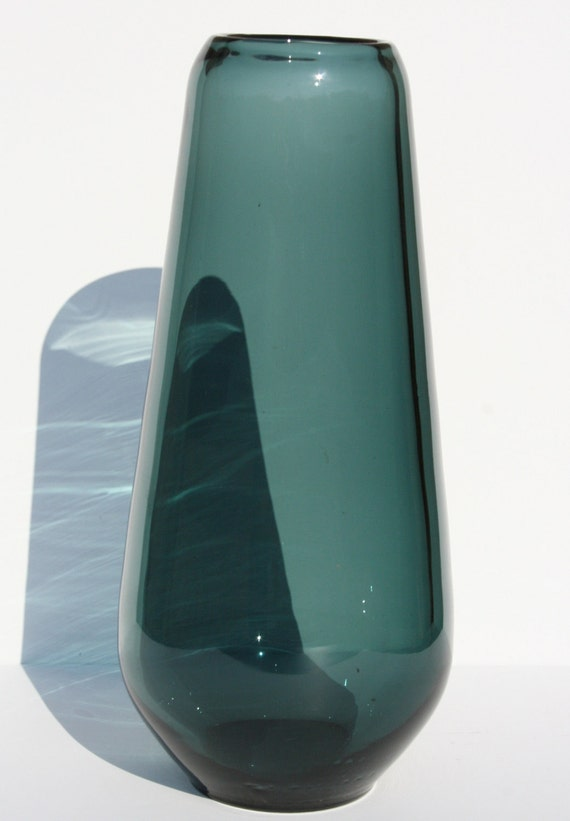 Vintage Mid Century Modern Smoke Grey Gray Scandinavian Swedish Large Art Glass Vase