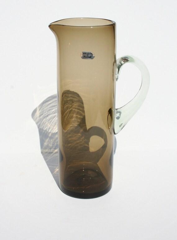 Mid Century Modern Hand Blown Art Glass Pitcher by Bischoff