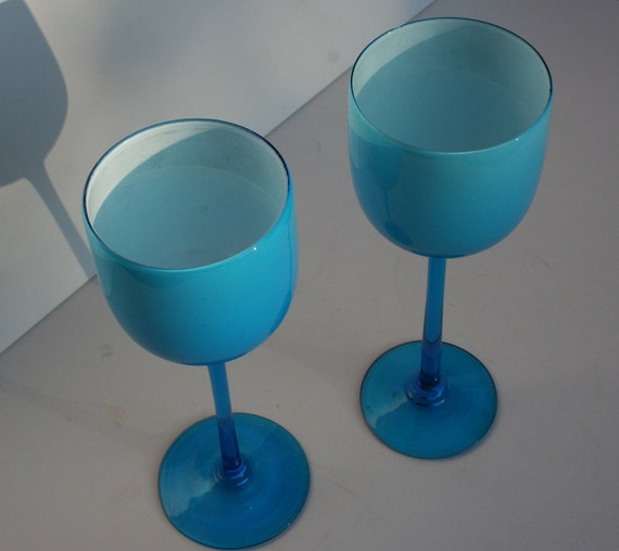 2 Vintage Mid Century Modern Carlo Moretti Blue Cased Glass Goblets Wine Glasses