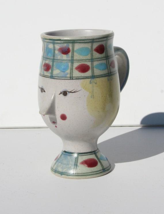 Vintage Mid Century Bjorn Wiinblad Made in Denmark Pottery Face Mug Vase