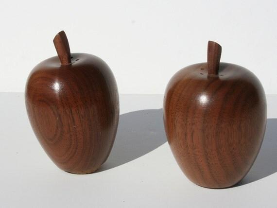 Vintage Danish Modern Wooden Apple Salt and Pepper Shakers
