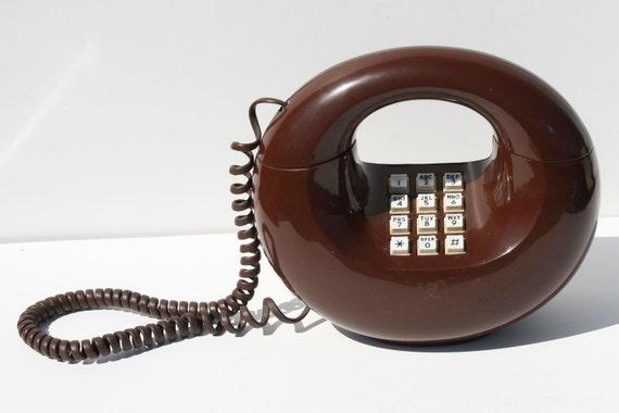 Vintage Western Electric Chocolate Brown Sculptura Doughnut  Phone Telephone