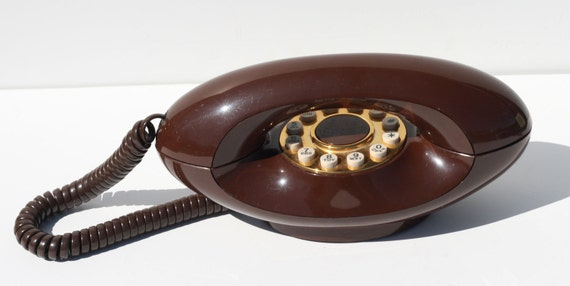Vintage ATC American Telecommunications Company Chocolate Brown Genie Phone