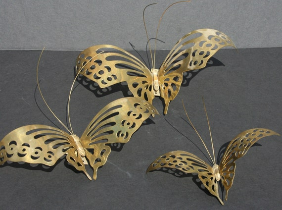 Metal Butterfly Wall Decoration : Vintage brass metal butterfly wall decor