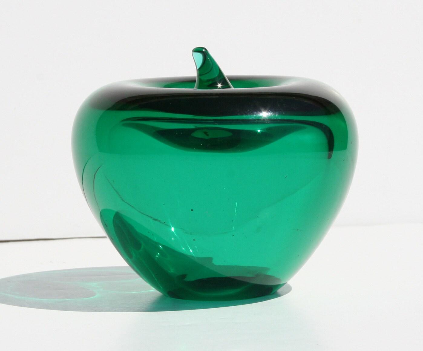 Vintage Murano Italian Art Glass Green Apple Glass By Modnique