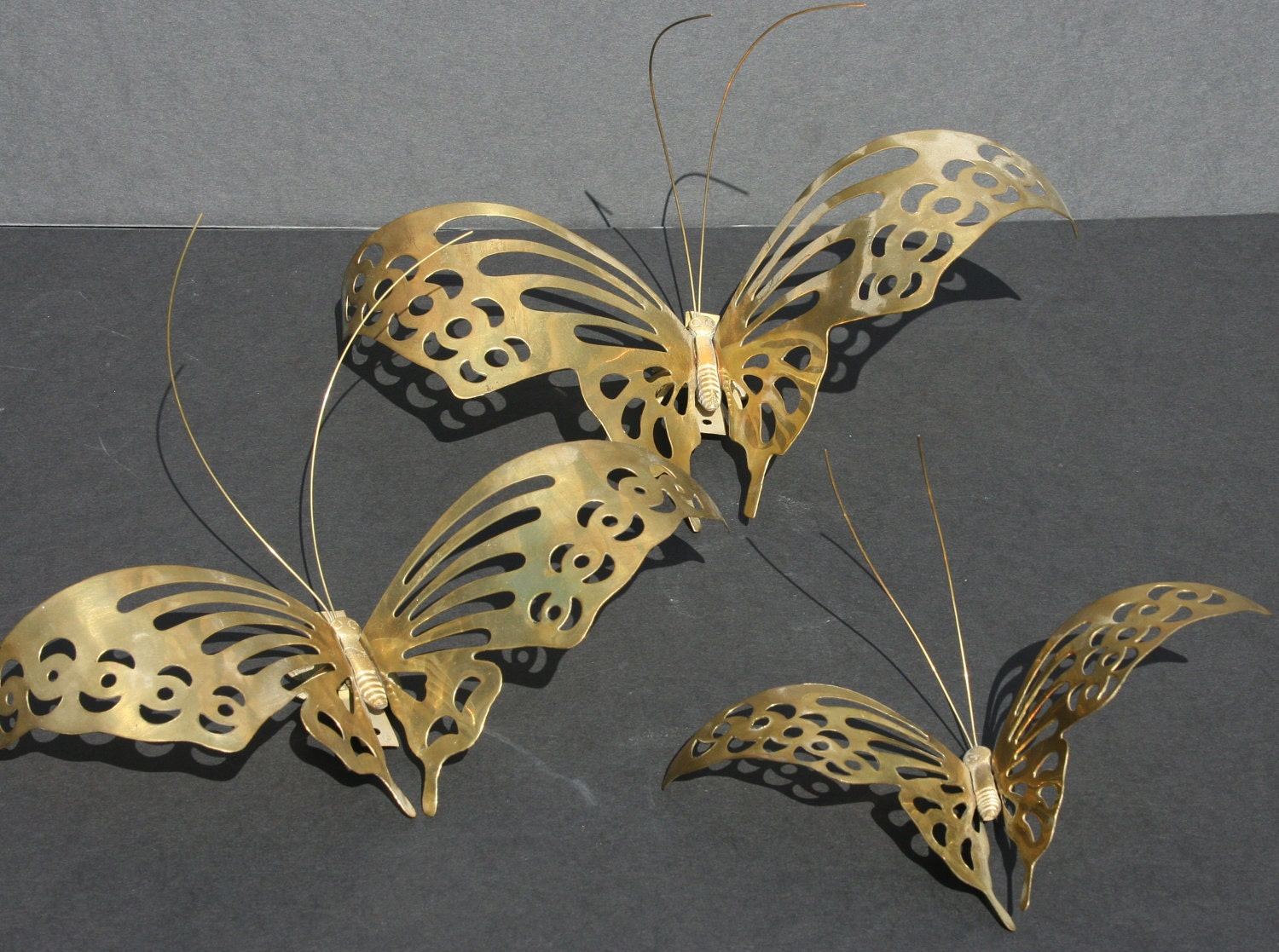 3 vintage brass metal butterfly wall decor. Black Bedroom Furniture Sets. Home Design Ideas