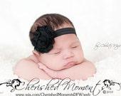 Black SHABBY Chic Frayed Rosette Flower Headband