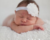 White SHABBY Chic Frayed Rosette Flower Headband with Pearl