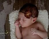 Itty Bitty Brown Hydrangea Flower Headband with Pearl---Newborn---Photography Prop
